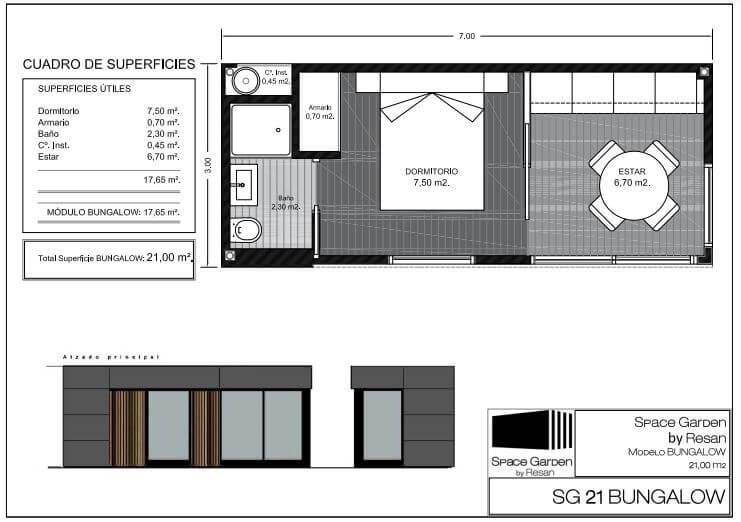 casa modular con habitación