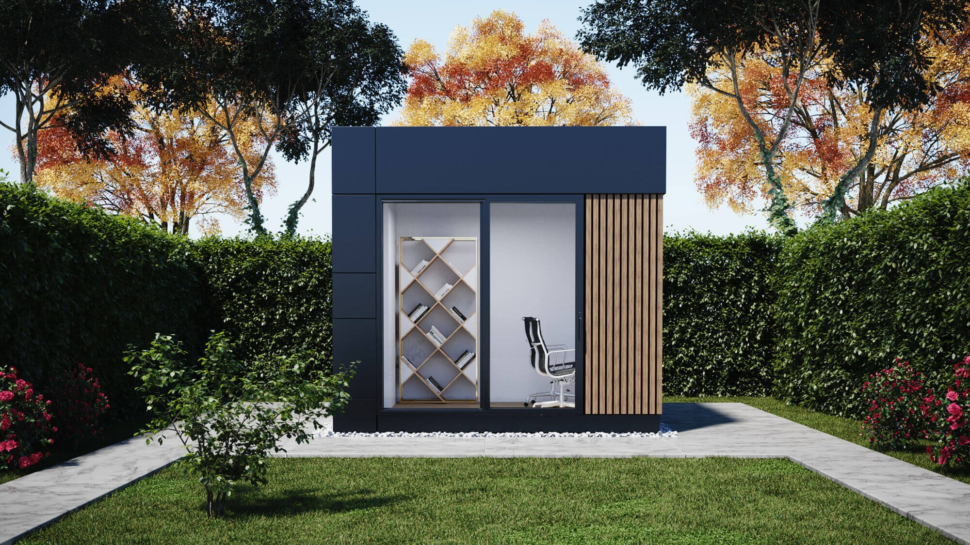 oficinas prefabricadas en jardín